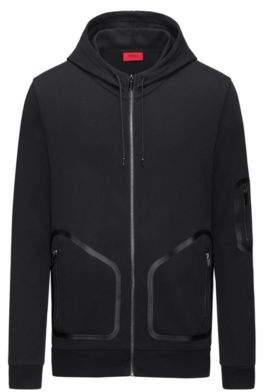 HUGO BOSS Rubber-Taped Cotton Hoodie Deatty M Black