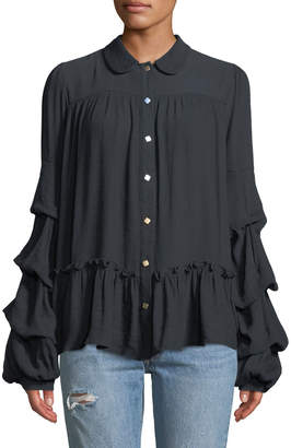 Lumie Round-Collar Ruffle-Sleeve Button-Front Blouse