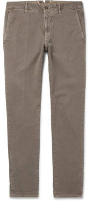 Incotex Slim-Fit Herringbone Stretch-Cotton Trousers - Men - Army green