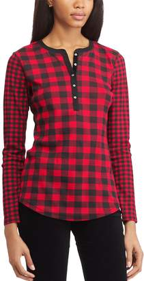 Chaps Petite Print Henley Shirt