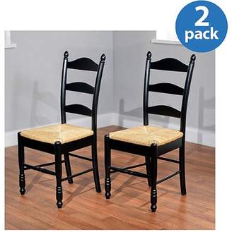 Generic Ladder Back Rush Seat Chairs - Set of 2, Multiple Colors