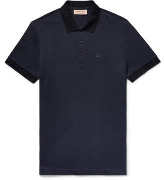 Burberry Slim-Fit Cotton-Pique Polo Shirt - Navy