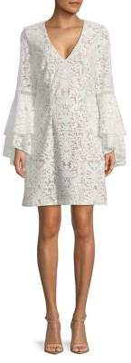 Xscape Evenings Bell-Sleeve Lace Sheath Dress