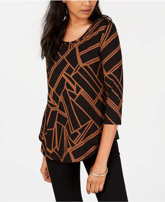 JM Collection Petite Printed 3/4-Sleeve Top