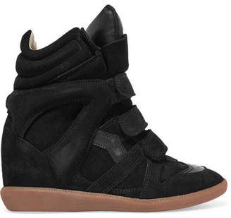 Isabel Marant - Bekett Leather-trimmed Suede Wedge Sneakers - Black $600 thestylecure.com