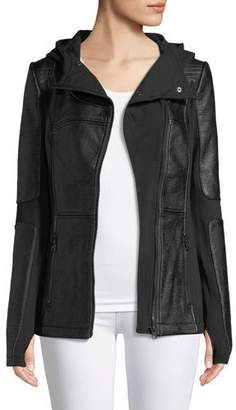 Blanc Noir Asymmetric Zip-Front Faux-Leather Moto Jacket