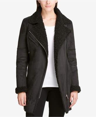 DKNY Belted Asymmetrical Mixed Media Coat