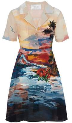 Valentino Printed Silk Crepe De Chine Dress