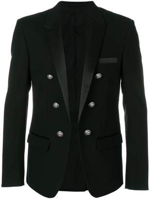 Balmain embossed-button blazer