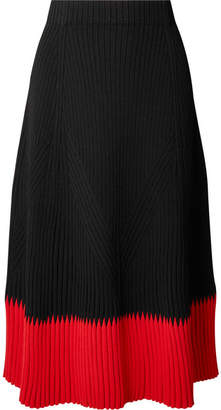 Alexander McQueen Two-tone Ribbed-knit Midi Skirt - Black