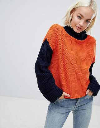Glamorous relaxed sweater in color block