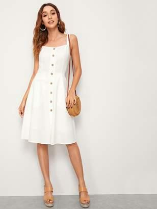Shein Button Front Slant Pocket Midi Slip Dress