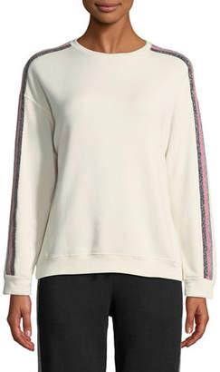 Velvet Colby Racer-Stripe Metallic Pullover Top
