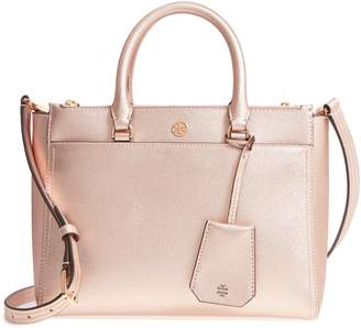 Tory Burch Small Robinson Double-Zip Metallic Leather Tote