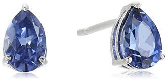 Sterling Silver Created Ceylon Sapphire Pear Shape September Birth Stone Stud Earrings