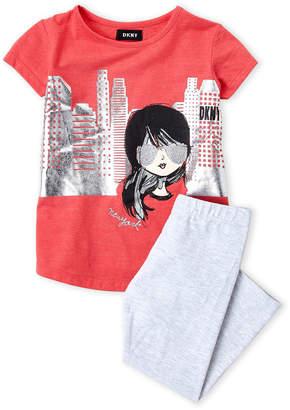 DKNY Girls 4-6x) Two-Piece Graphic Tee & Leggings Set