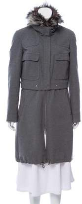 Brunello Cucinelli Fur-Trimmed Wool Coat