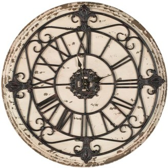 Safavieh Jerry Fir Wood and Iron Clock, Distressed Antique Rust