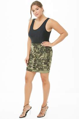 b3f86760967 at Forever 21 · Forever 21 Plus Size Camo Caged Buckle Skirt