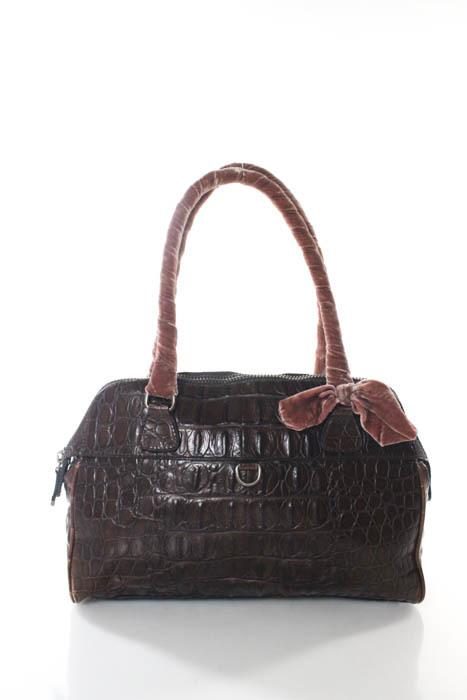 Miu MiuMiu Miu Brown Caimen Crocodile Velvet Wrapped Strap Shoulder Handbag