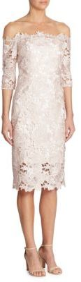 ML Monique Lhuillier Off-The-Shoulder Lace Dress $595 thestylecure.com