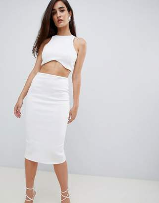 Asos DESIGN racer neck two-piece bodycon midi dress