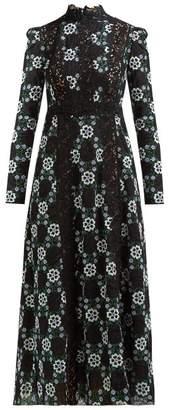 Giambattista Valli Lace Insert Floral Guipure Lace Gown - Womens - Black Multi