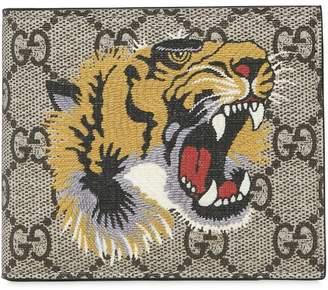 Gucci Tiger Printed Gg Supreme Classic Wallet