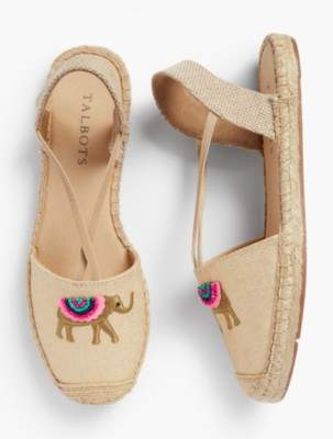 Talbots Ivy Espadrille Flats-Metallic Embroidered Elephant