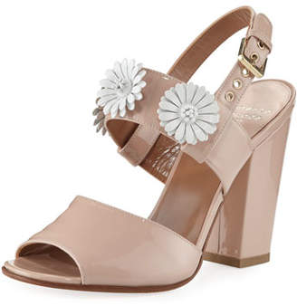 Laurence Dacade 100mm Patent Leather Sandal w/ Daisy Detail