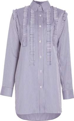 ADAM by Adam Lippes Striped Cotton Ruffled Tunic