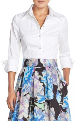 Women's Eliza J Cotton Poplin Blouse $108 thestylecure.com
