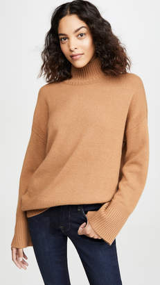 Frame High-Low Cashmere Mock Neck Sweater