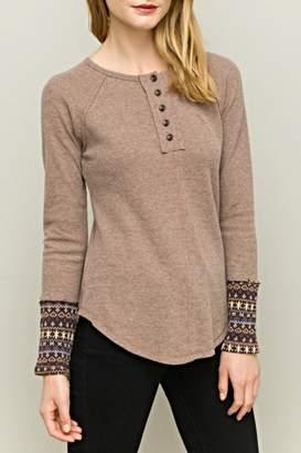 Hem & Thread Embellished Sleeve Top