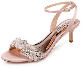 e093b7366ed Badgley Mischka Fiona Embellished Satin Kitten-Heel Sandals