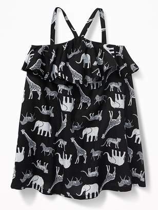 Old Navy Ruffled Safari-Animal Print Sundress For Baby
