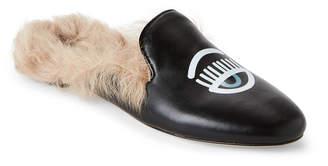 Chiara Ferragni Black Flirting Real Fur Flat Mules