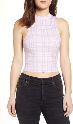 Wildfox Couture Pastel Plaid Crop Tank Top