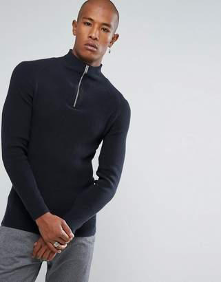 Selected 1/4 Zip Knitted Jumper in 100% Cotton