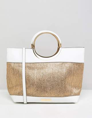 Carvela Circle Handle Raffia Tote Bag
