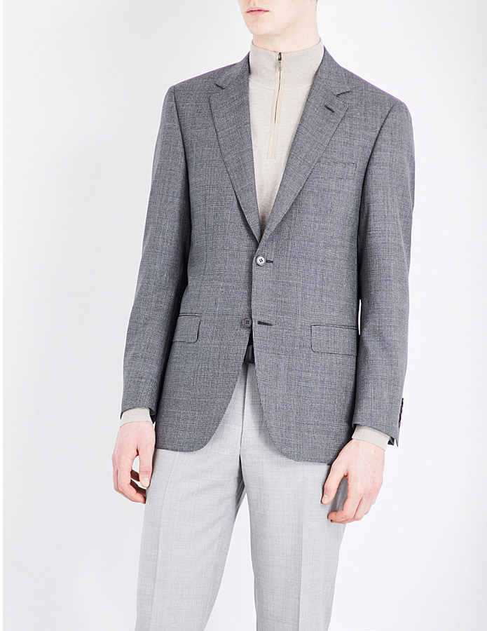 Canali Canali Puppytooth-patterned wool jacket