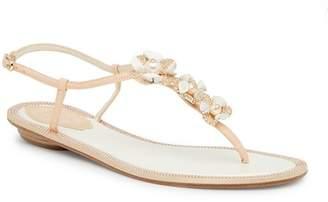 Rene Caovilla Crystal Embellished Floral Thong Sandal