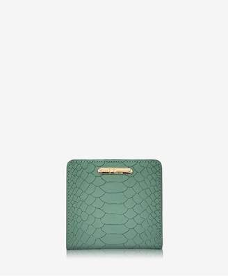 GiGi New York Mini Foldover Wallet In Eucalyptus Embossed Python