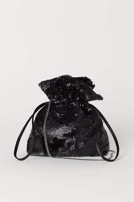 H&M Sequined Pouch Bag - Black