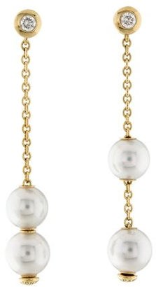 Mikimoto 18K Pearl In Motion & Diamond Drop Earrings $825 thestylecure.com