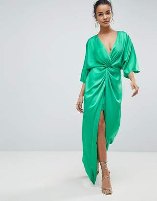 Asos Design Kimono Twist Front Maxi Dress