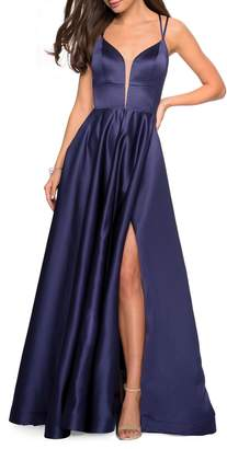 La Femme Strappy Back Satin Evening Dress