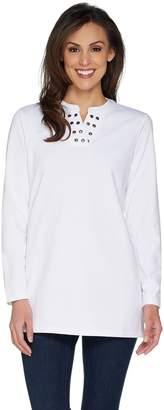 Denim & Co. Split V-Neck Long Sleeve Tunic with Grommet Detail