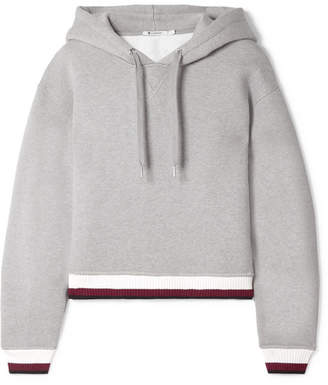 Alexander Wang Cropped Cotton-blend Fleece Hoodie - Gray