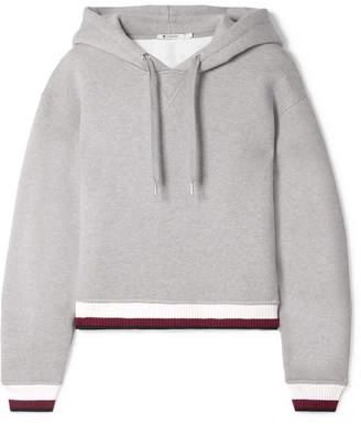 Alexander Wang Cropped Cotton-blend Fleece Hoodie - Gray